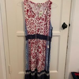 Boho chic dress, red, white and blue.